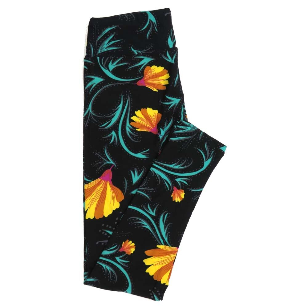LuLaRoe One Size OS Floral Buttery Soft Womens Leggings fit Adult sizes 2-10  OS-4368-BG