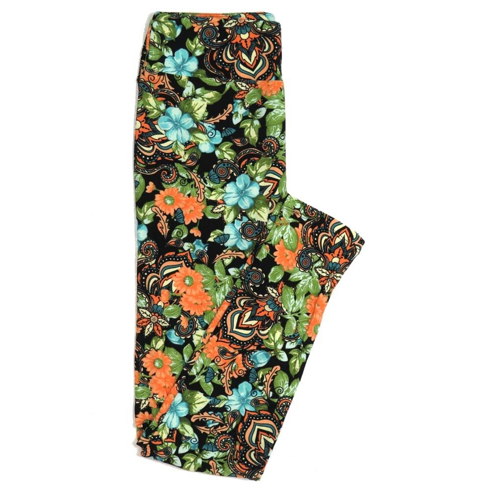 LuLaRoe One Size OS Paisley Black Lavendar Coral Buttery Soft Womens Leggings fit Adult sizes 2-10  OS-4369-AD-5
