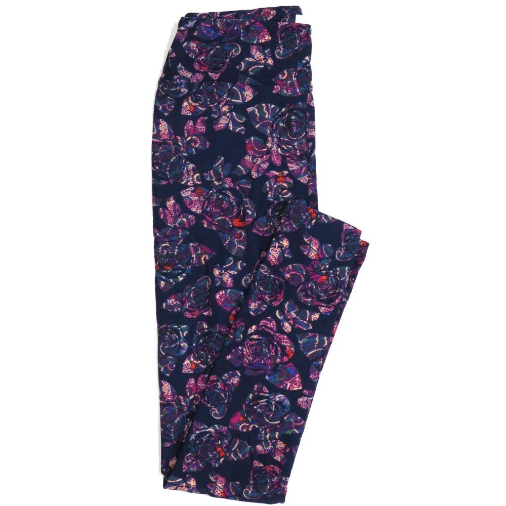 LuLaRoe One Size OS Roses Paisleys Buttery Soft Womens Leggings fit Adult sizes 2-10  OS-4369-AL