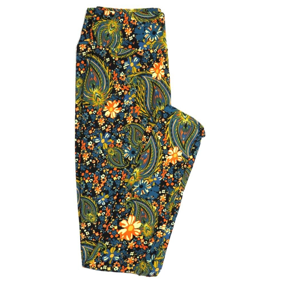 LuLaRoe One Size OS Paisley Feathers Floral Buttery Soft Womens Leggings fit Adult sizes 2-10  OS-4369-AV