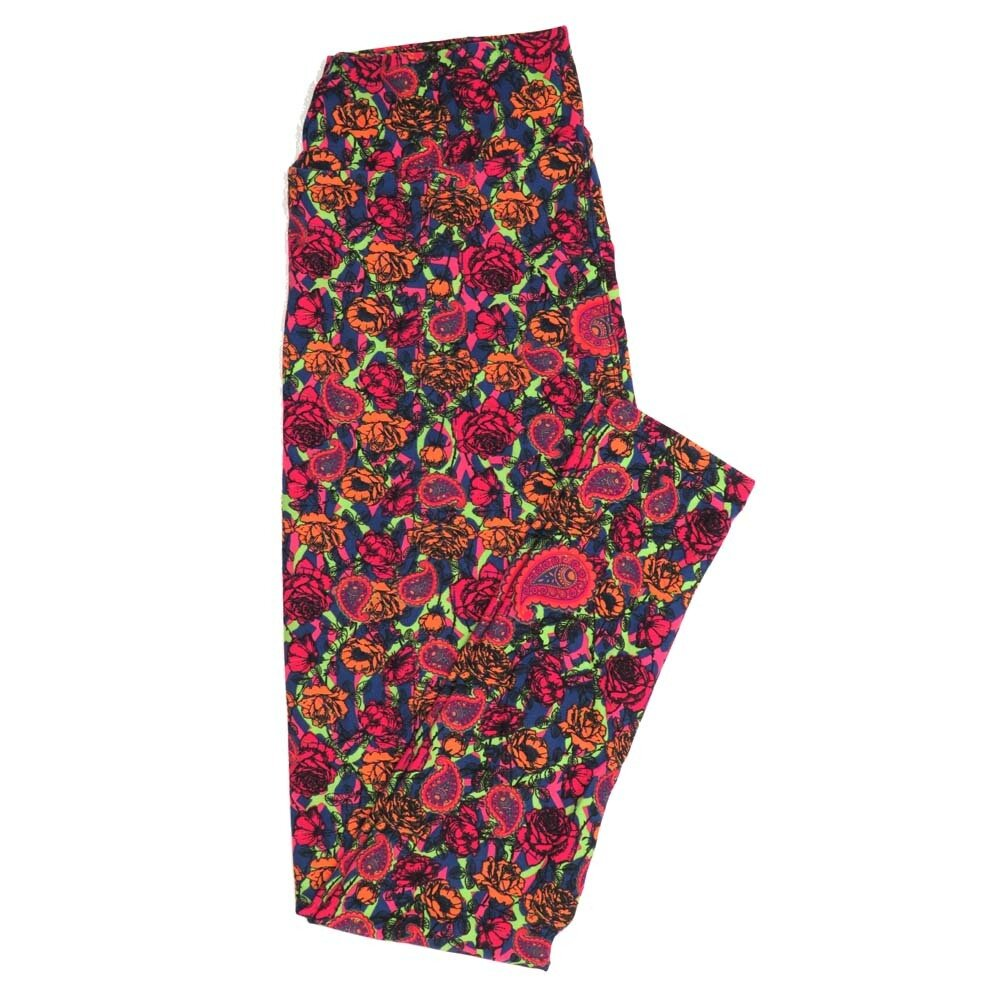 LuLaRoe One Size OS Paisley and Roses Geometric Buttery Soft Womens Leggings fit Adult sizes 2-10  OS-4370-AM