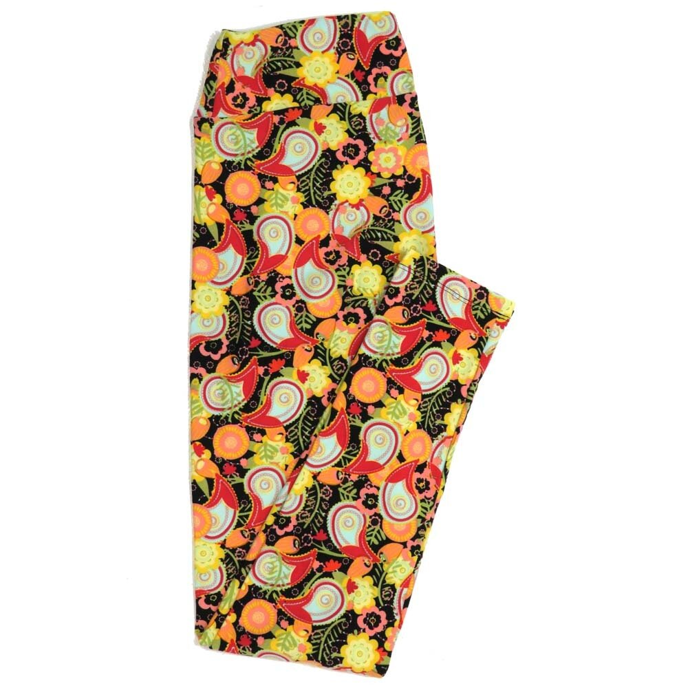 LuLaRoe One Size OS Floral Paisley Buttery Soft Womens Leggings fit Adult sizes 2-10  OS-4370-AT
