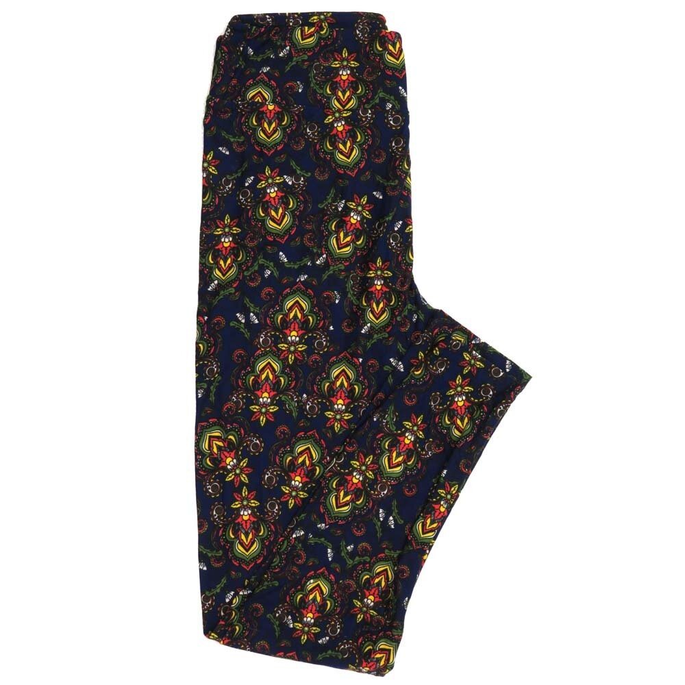 LuLaRoe One Size OS Paisley Fleur de Lis Buttery Soft Womens Leggings fit Adult sizes 2-10  OS-4370-AV