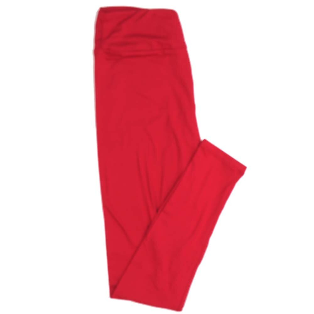 LuLaRoe One Size OS Solid True Red Buttery Soft Womens Leggings fit Adult sizes 2-10  OS-4371-BD-TRUERED