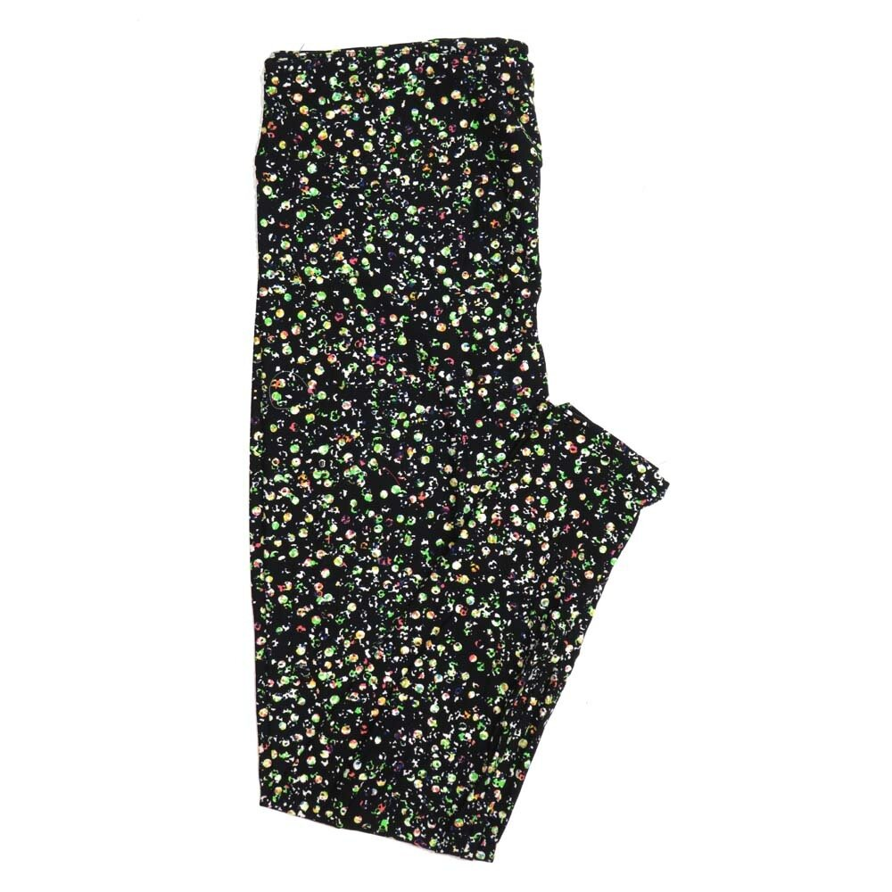 LuLaRoe Tall Curvy TC Black Lime White Pink Polka Dot Buttery Soft Womens Leggings fits Adults sizes 12-18  TC-7301-24
