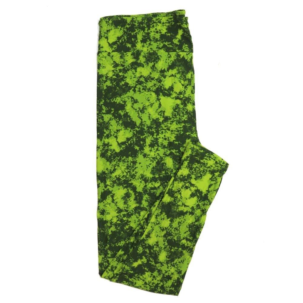 LuLaRoe Tall Curvy TC Dark Lime Dark Green Abstract Geometric Buttery Soft Womens Leggings fits Adults sizes 12-18  TC-7304-29