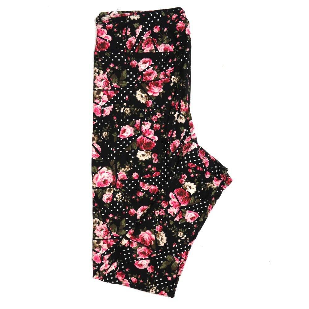 LuLaRoe Tall Curvy TC Black Dark and Light Pink Roses Polka Dots Buttery Soft Womens Leggings fits Adults sizes 12-18  TC-7310-24