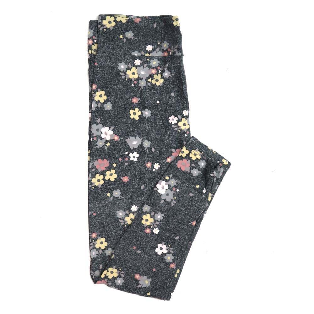 LuLaRoe Tall Curvy TC Light Gray Dark Gray Pink Yellow Floral Buttery Soft Womens Leggings fits Adults sizes 12-18  TC-7322-1