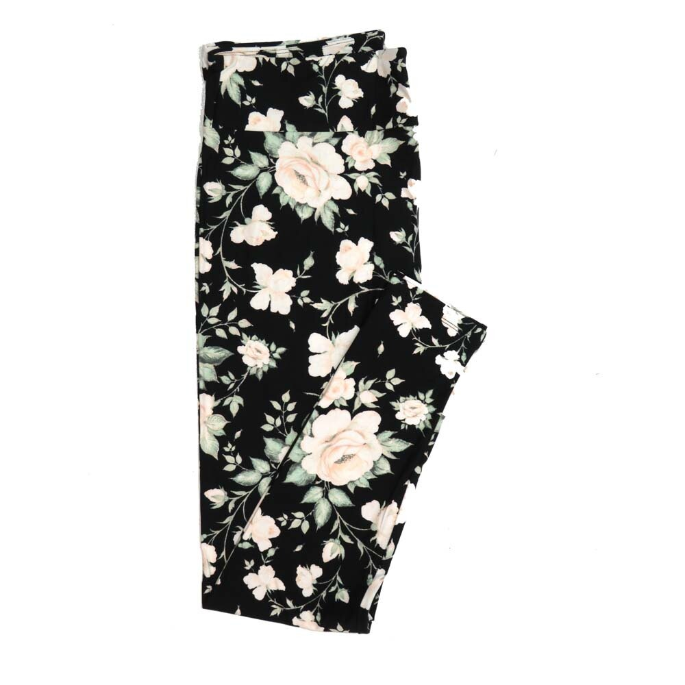 LuLaRoe Tall Curvy TC Black Light Green Light Peach Floral Buttery Soft Womens Leggings fits Adults sizes 12-18  TC-7325-2