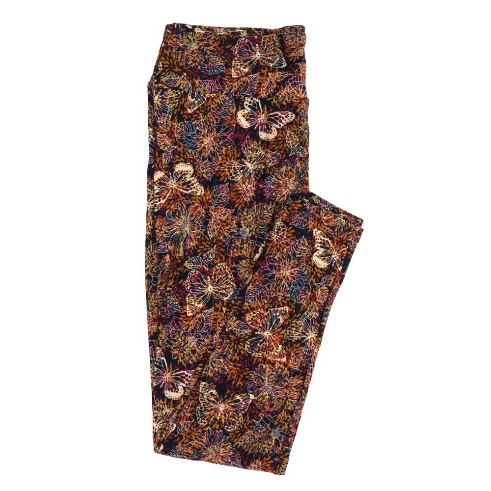 LuLaRoe Tall Curvy TC Butterlfies Floral Buttery Soft Womens Leggings fits Adults sizes 12-18  TC-7351-H