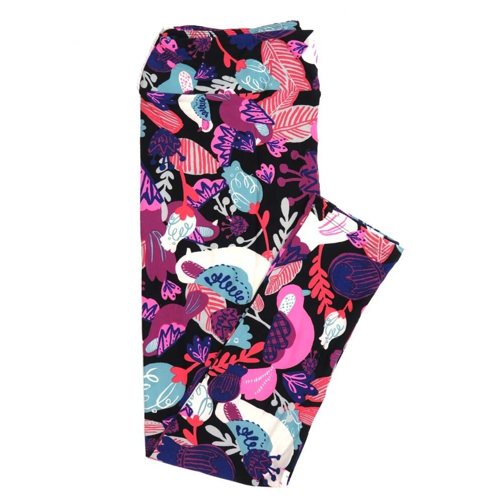 LuLaRoe Tall Curvy TC Birds Flowers Buttery Soft Womens Leggings fits Adults sizes 12-18  TC-7351-Q