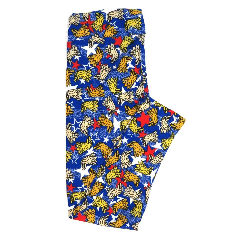 LuLaRoe Tall Curvy TC Americana USA Bald Eagle White Blue Red Stars and Stripes Buttery Soft Womens Leggings fits Adults sizes 12-18  TC-7353-Y