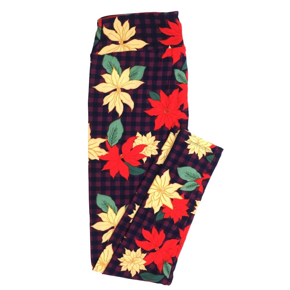 LuLaRoe Tall Curvy TC Christmas Poinsettia Plaid Red Green Holiday Buttery Soft Womens Leggings fits Adults sizes 12-18  TC-7355-A
