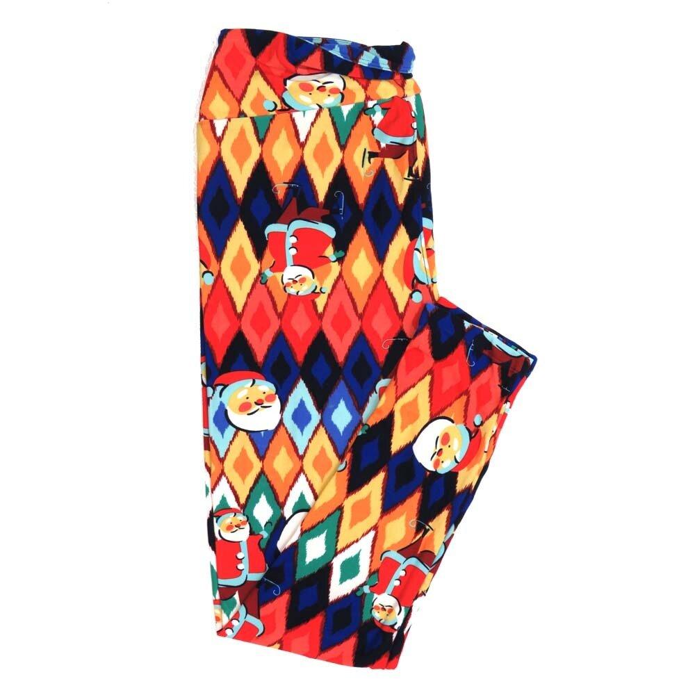 LuLaRoe Tall Curvy TC Christmas Holiday Santa Claus Ice Sakting Rainbow Diamond Buttery Soft Womens Leggings fits Adults sizes 12-18  TC-7355-C