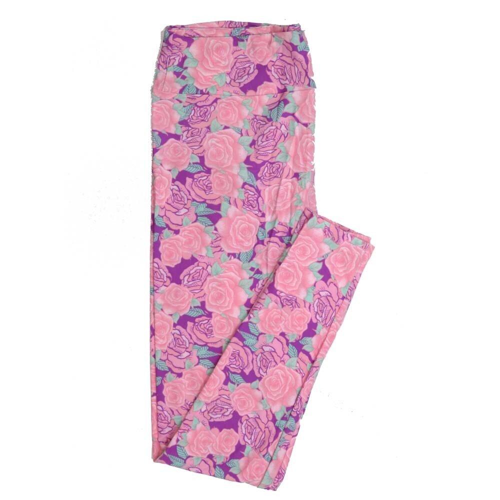 LuLaRoe Tall Curvy TC Roses Pink Buttery Soft Womens Leggings fits Adults sizes 12-18  TC-7355-K