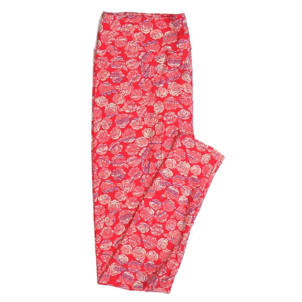 LuLaRoe Tall Curvy TC Roses Buttery Soft Womens Leggings fits Adults sizes 12-18  TC-7355-M