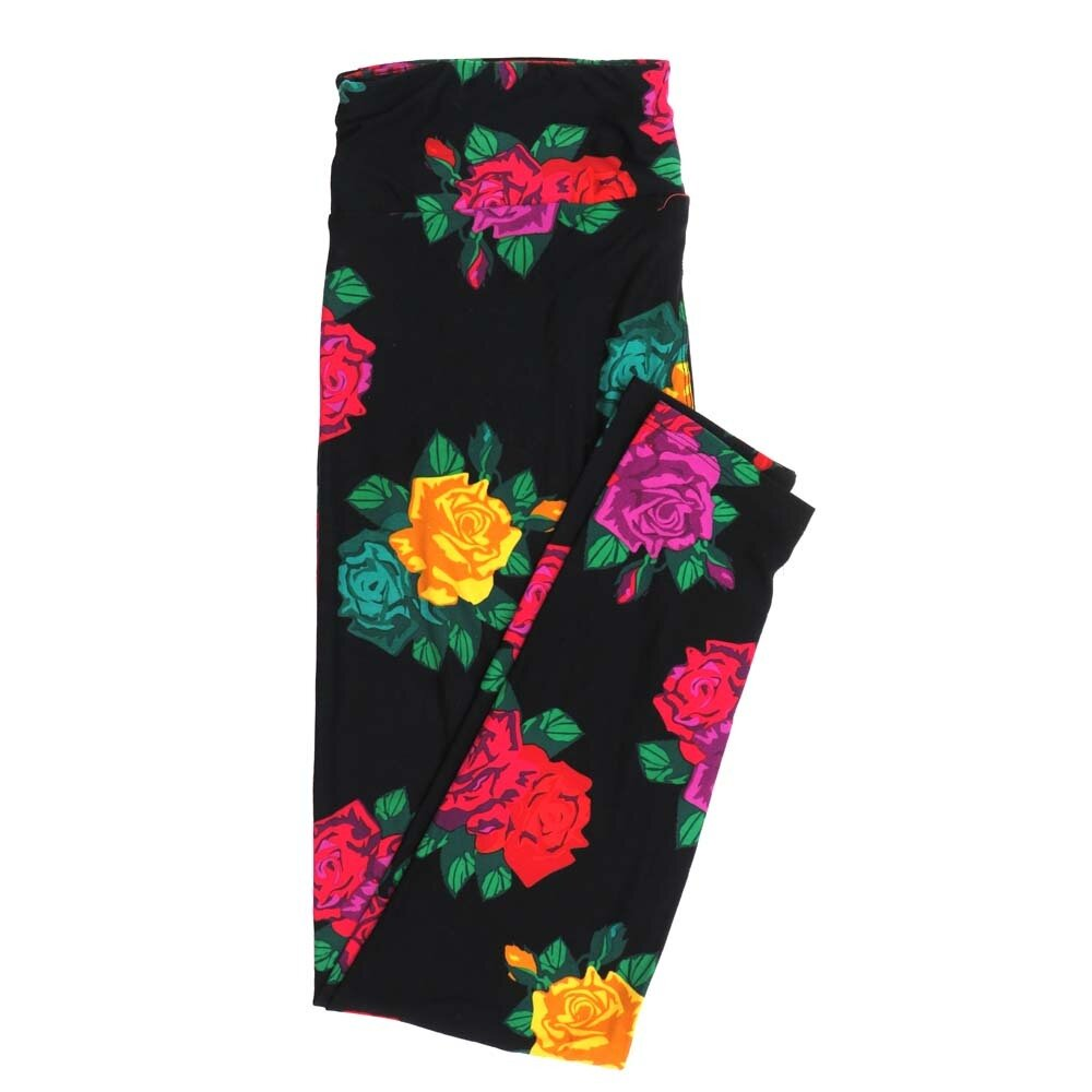 LuLaRoe Tall Curvy TC Roses Black Yellow Red Green Buttery Soft Womens Leggings fits Adults sizes 12-18  TC-7355-S