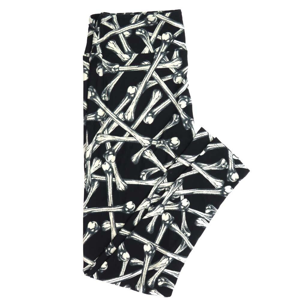 LuLaRoe Tall Curvy TC Crossbones Black White Halloween Buttery Soft Womens Leggings fits Adults sizes 12-18  TC-7356-E