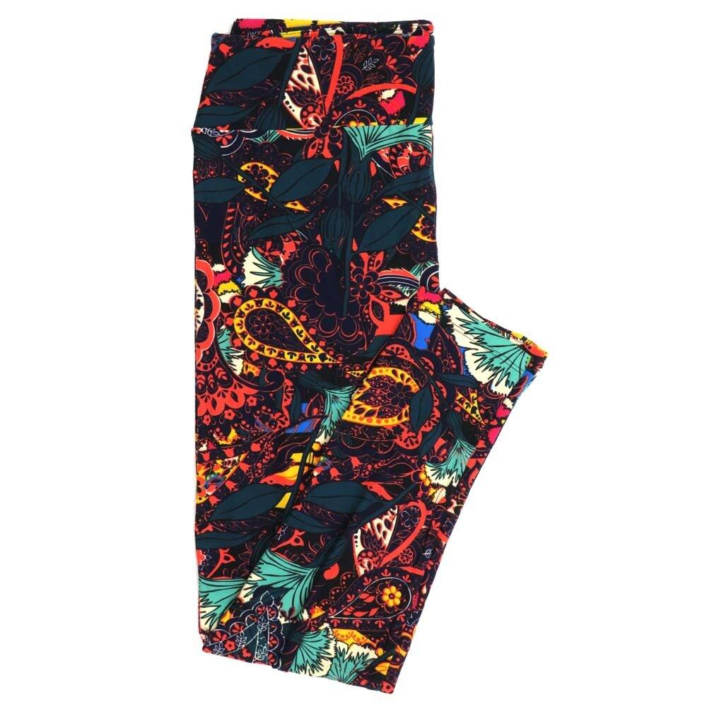 LuLaRoe Tall Curvy TC Paisley Black Yellow Gray Gingko Buttery Soft Womens Leggings fits Adults sizes 12-18  TC-7359-F
