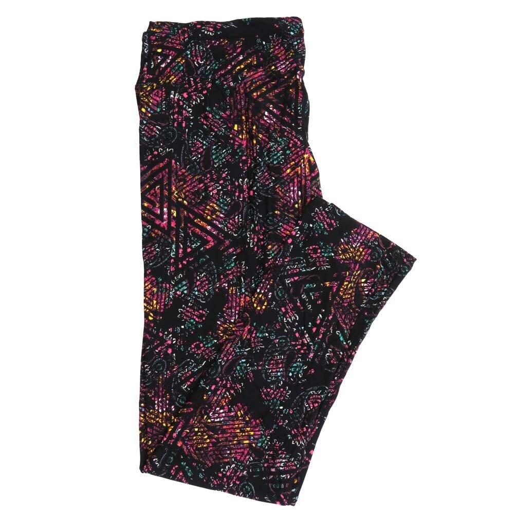 LuLaRoe Tall Curvy TC Paisley Made Traingle Stripe Buttery Soft Womens Leggings fits Adults sizes 12-18  TC-7359-K
