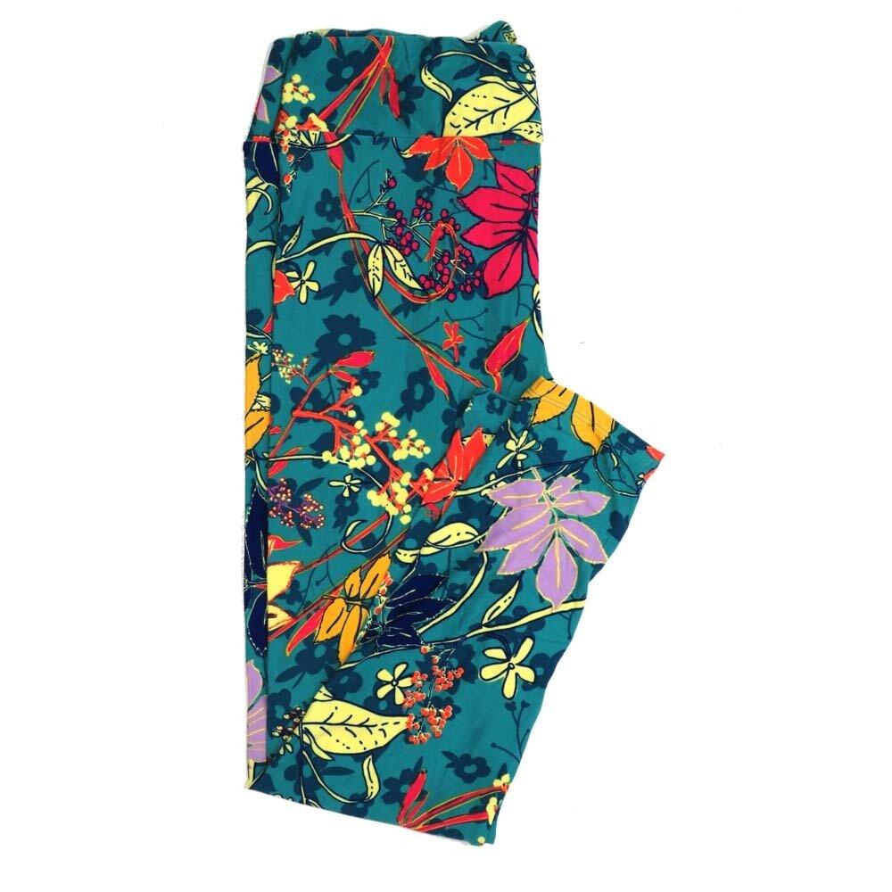 LuLaRoe Tall Curvy TC Floral Buttery Soft Womens Leggings fits Adults sizes 12-18  TC-7361-S
