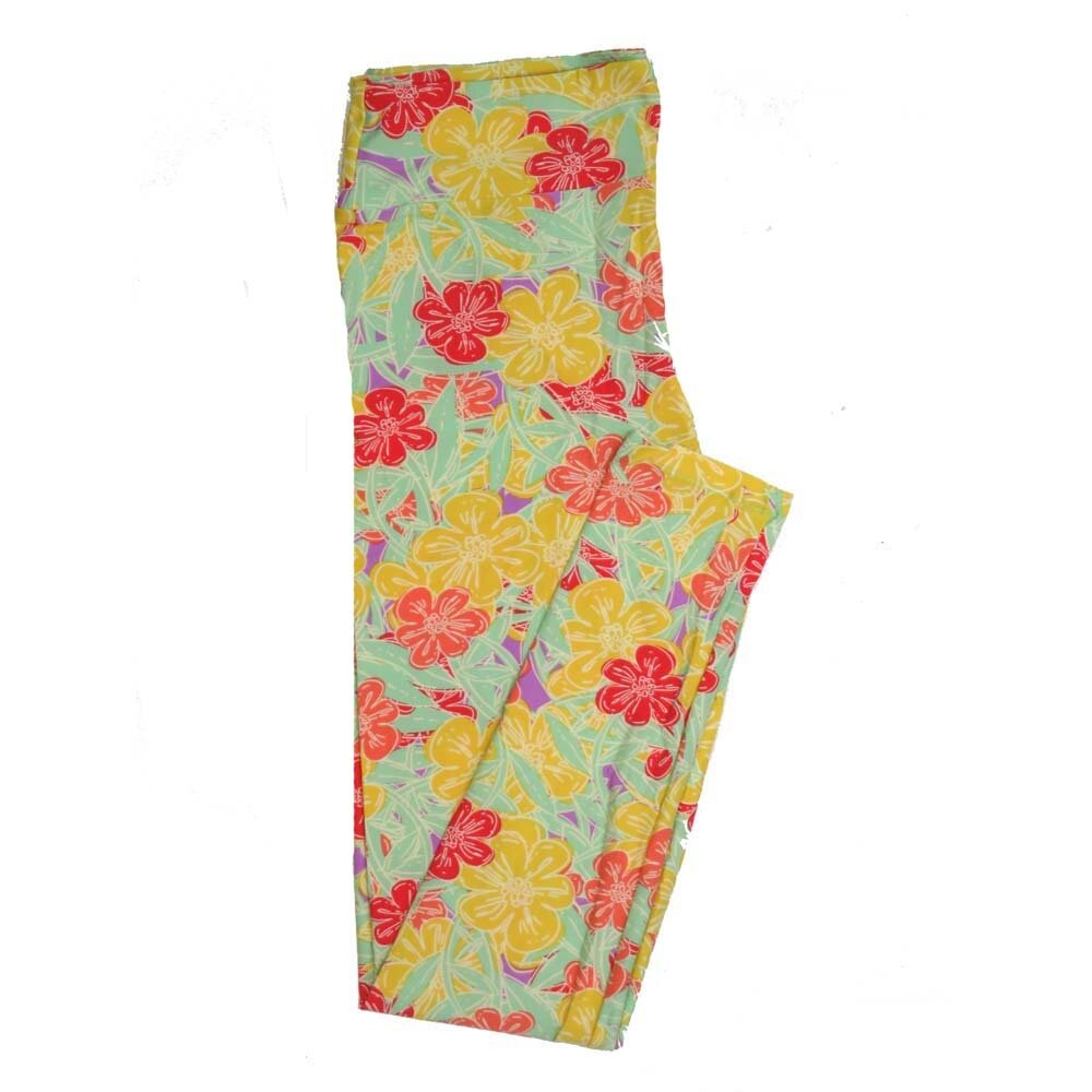 LuLaRoe Tall Curvy TC Floral Buttery Soft Womens Leggings fits Adults sizes 12-18  TC-7362-A