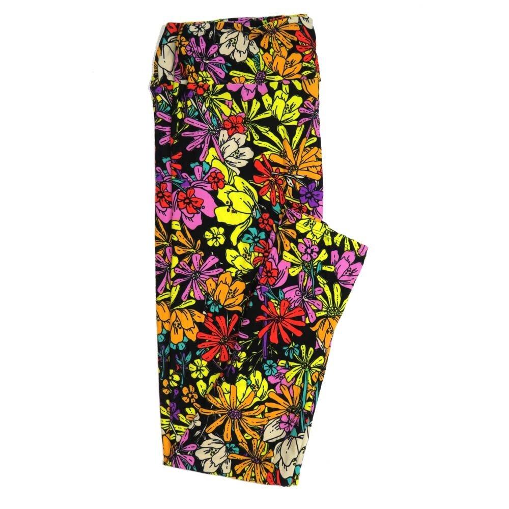LuLaRoe Tall Curvy TC Floral Buttery Soft Womens Leggings fits Adults sizes 12-18  TC-7362-L