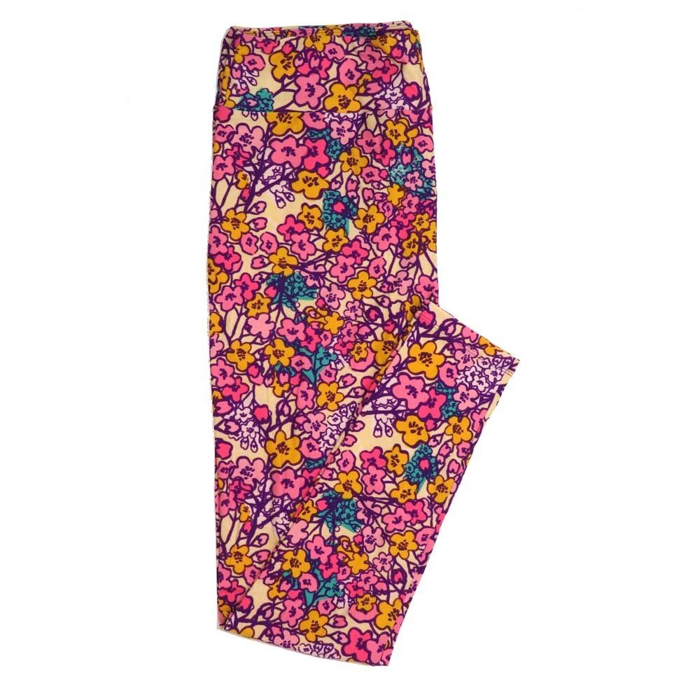 LuLaRoe Tall Curvy TC Floral Buttery Soft Womens Leggings fits Adults sizes 12-18  TC-7362-Q