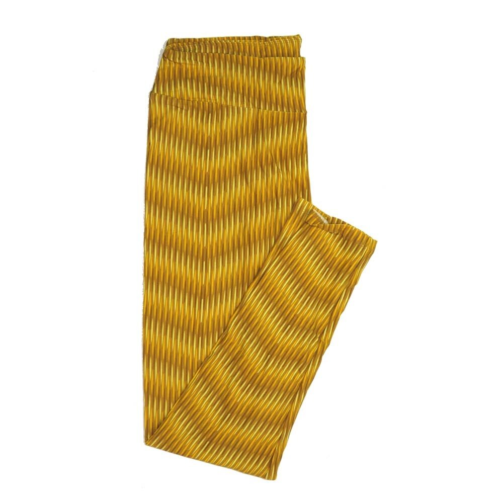LuLaRoe Tall Curvy TC Stripes Neon Green Gold Buttery Soft Womens Leggings fits Adults sizes 12-18  TC-7363-G