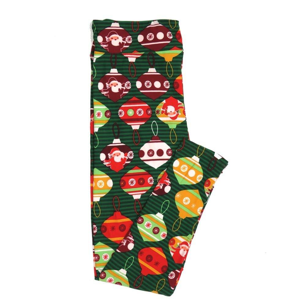 LuLaRoe TCTWO TC2 Christmas Holiday Ornaments Stripe Santa Buttery Soft Womens Leggings fits Adults sizes 18-26  TCTWO-9040-J