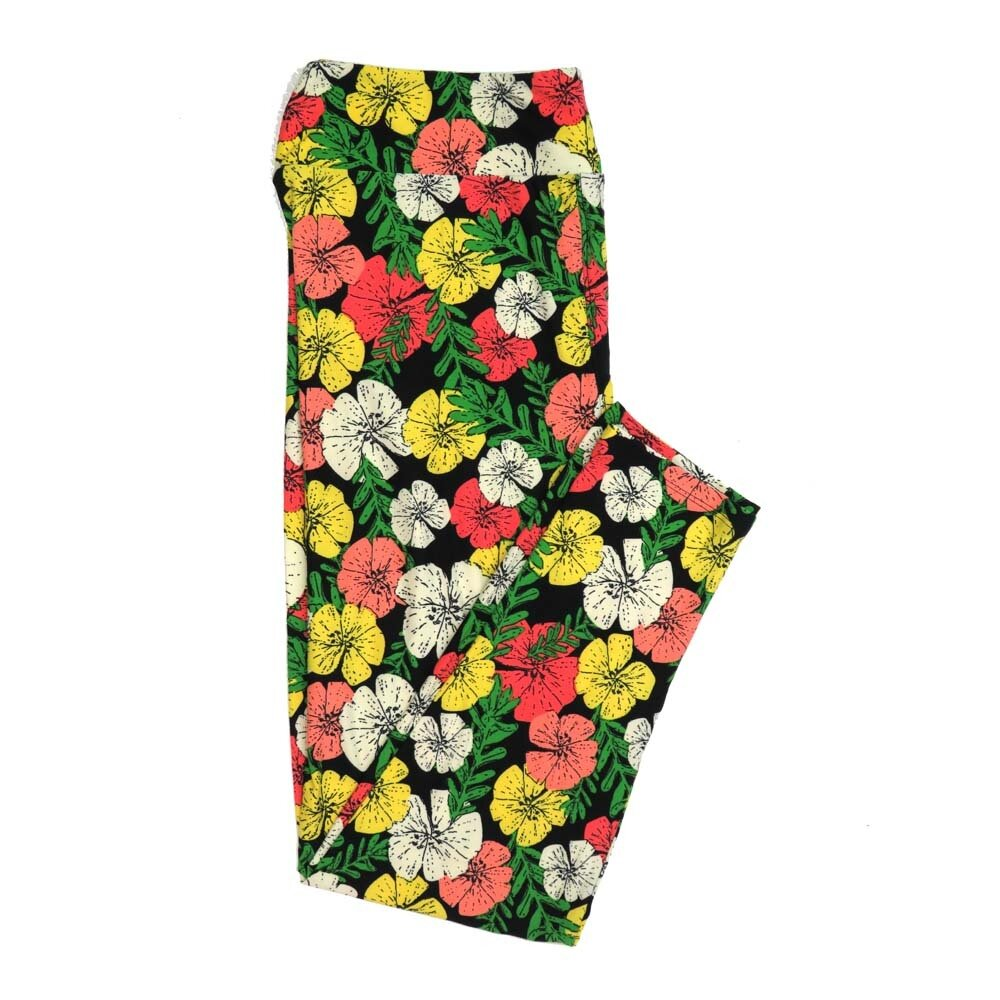 LuLaRoe TCTWO TC2 Black Yellow Cream Green Floral Buttery Soft Womens Leggings fits Adults sizes 18-26  TCTWO-9040-N