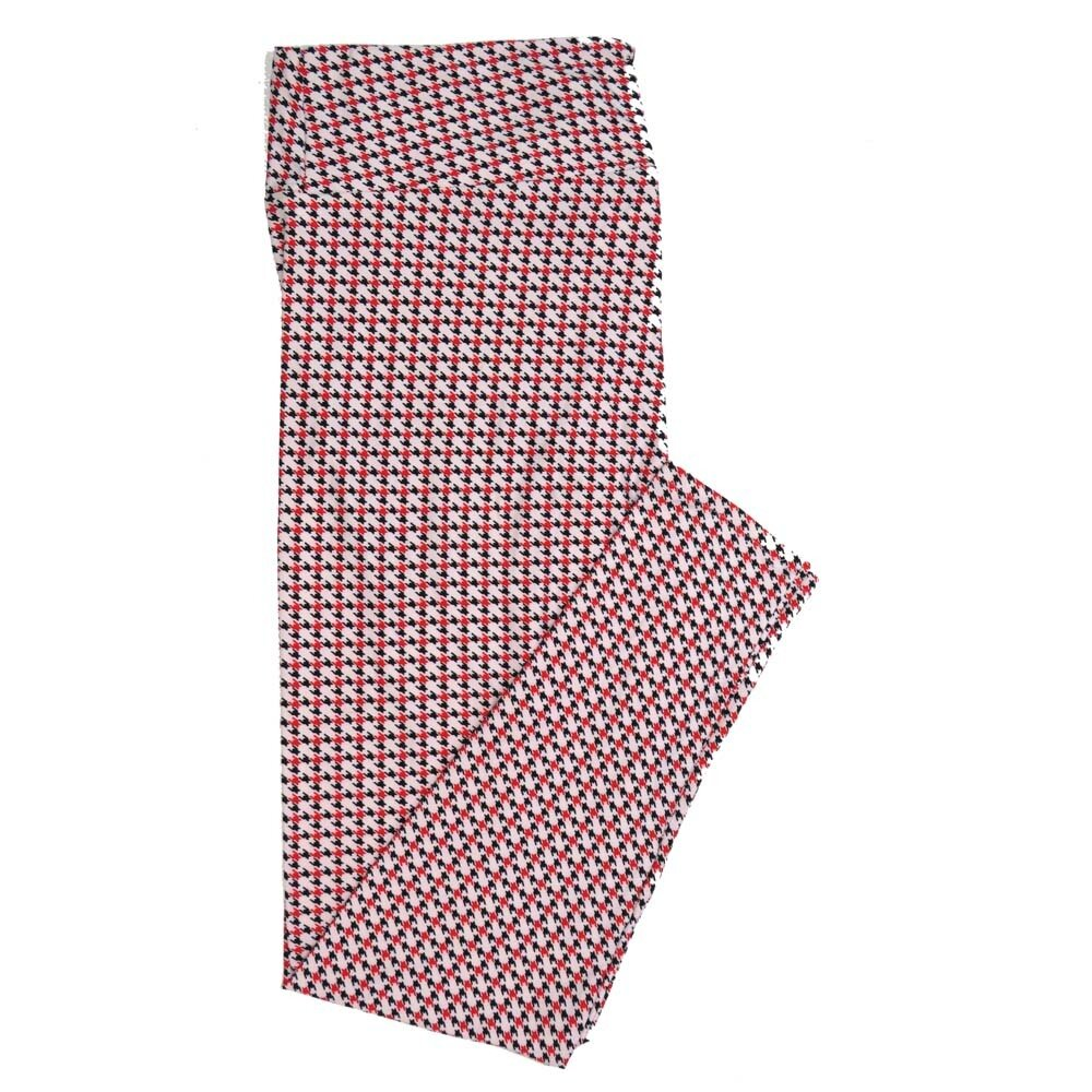 LuLaRoe TCTWO TC2 Red White Black Houndstooth Buttery Soft Womens Leggings fits Adults sizes 18-26  TCTWO-9040-Q