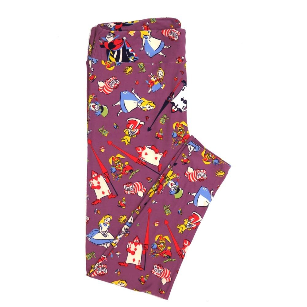 LuLaRoe TCTWO TC2 Disney Alice in Wonderland Queen of Hearts cheshire Cat Mad Hatter Buttery Soft Womens Leggings fits Adults sizes 18-26  TCTWO-9041-G