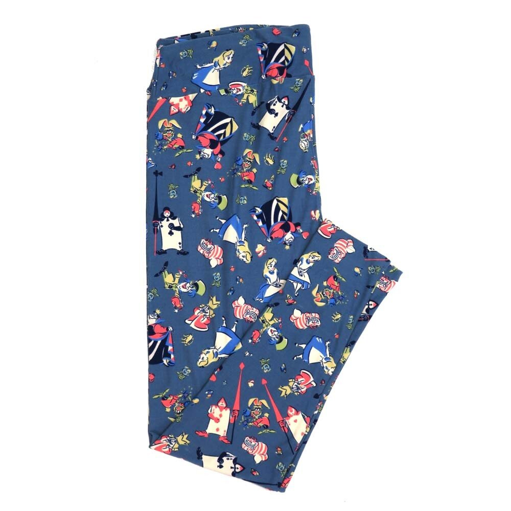 LuLaRoe TCTWO TC2 Disney Alice in Wonderland Queen of Hearts Cheshire Cat Mad Hatter Blue Buttery Soft Womens Leggings fits Adults sizes 18-26  TCTWO-9041-I