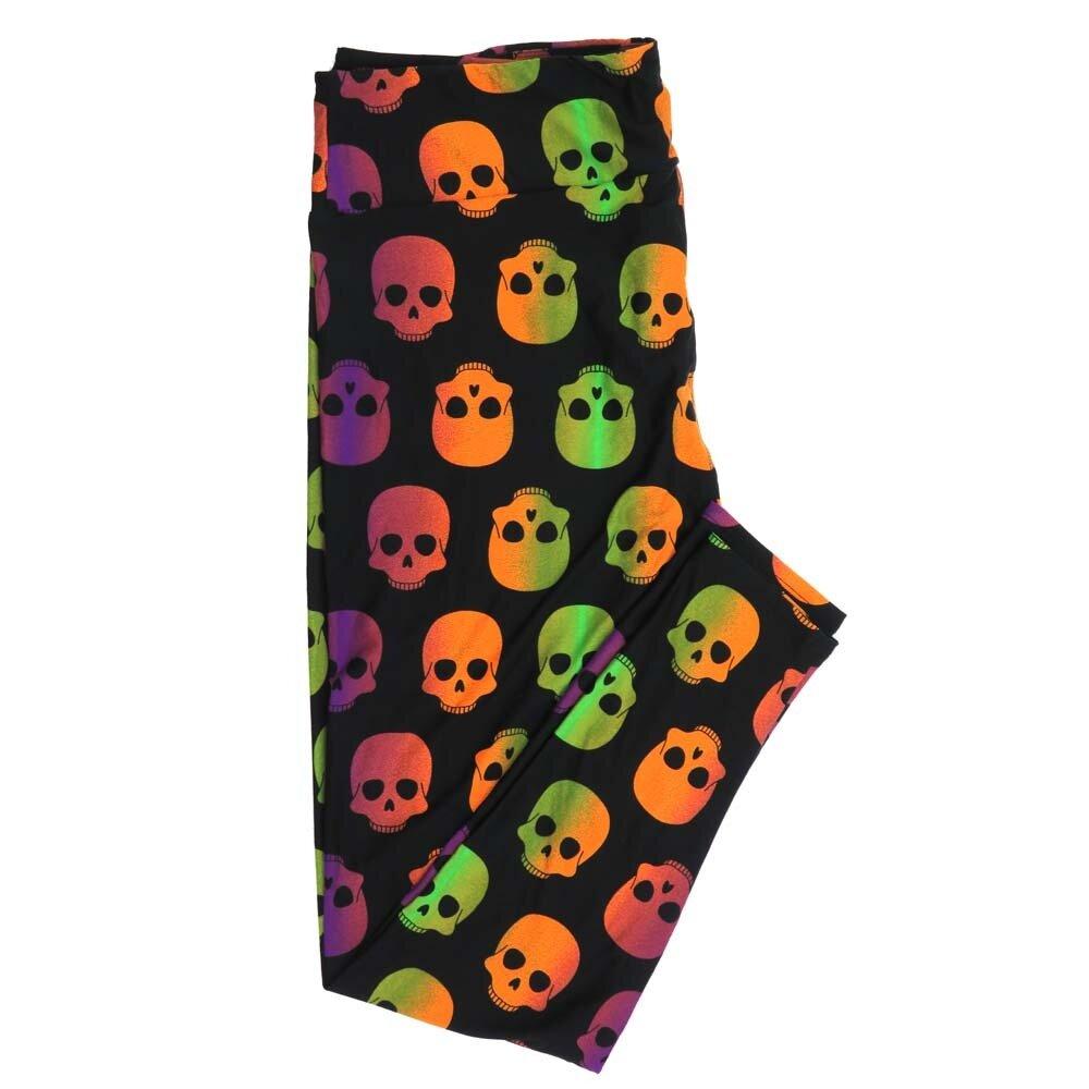 LuLaRoe TCTWO TC2 Halloween Spooky Black Neon Gradient Skulls Buttery Soft Womens Leggings fits Adults sizes 18-26  TCTWO-9042-D