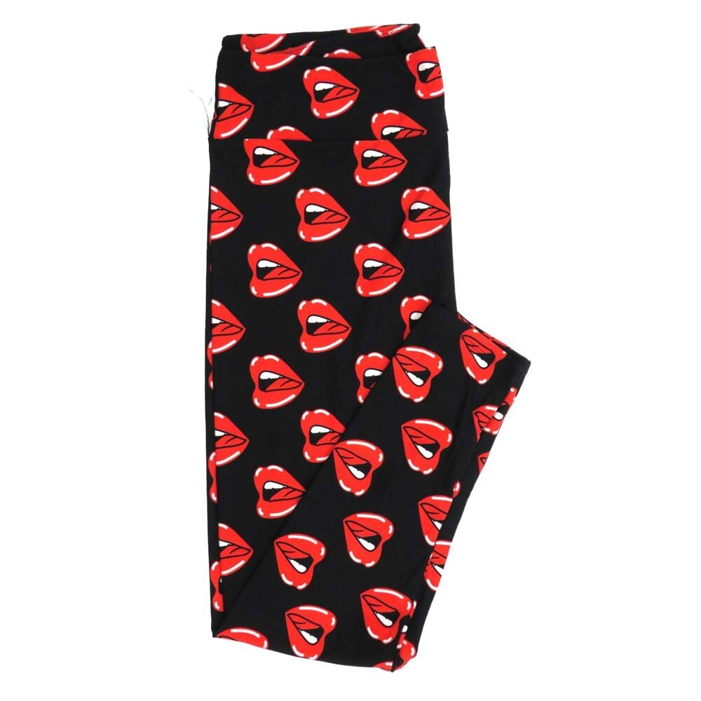 LuLaRoe TCTWO TC2 Open Mouth Red Lips Rolling Stones Rock Roll Buttery Soft Womens Leggings fits Adults sizes 18-26  TCTWO-9042-M