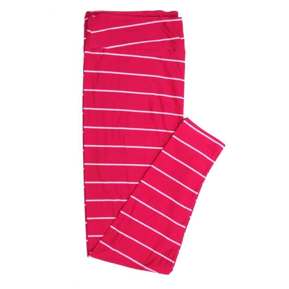 LuLaRoe TCTWO TC2 Pink Stripe Buttery Soft Womens Leggings fits Adults sizes 18-26  TCTWO-9042-P