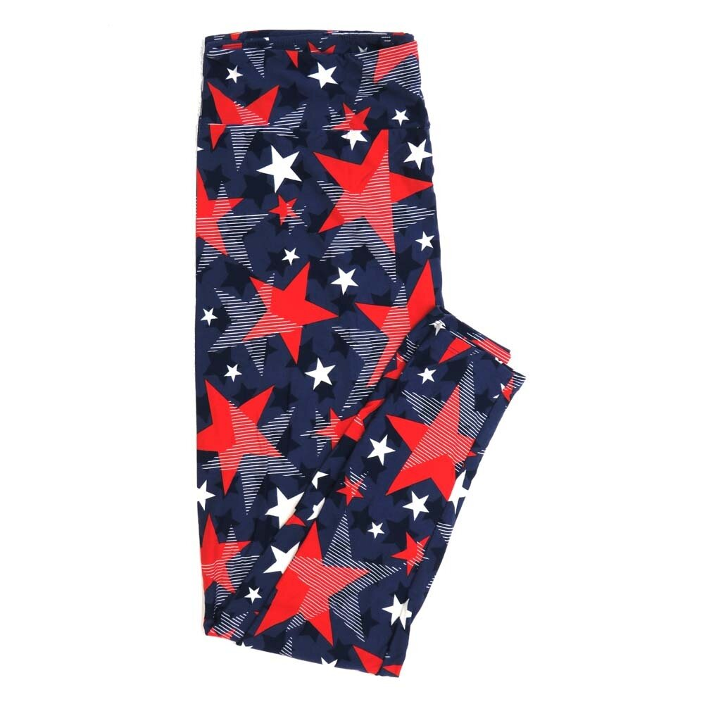 LuLaRoe TCTWO TC2 Blue Red White Stars and Stripes Polka Dot Buttery Soft Womens Leggings fits Adults sizes 18-26  TCTWO-9055-B-44