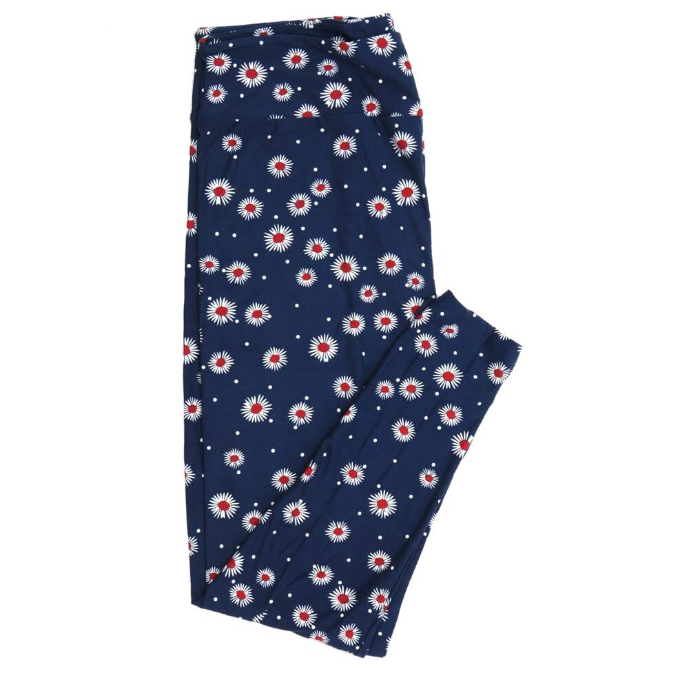 LuLaRoe TCTWO TC2 Navy White Red Daisies Floral Buttery Soft Womens Leggings fits Adults sizes 18-26  TCTWO-9056-A-44