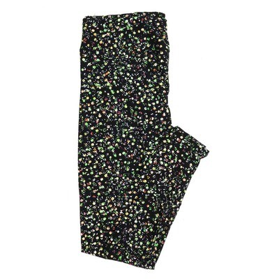 LuLaRoe One Size OS Black Lime White Pink Polka Dot Buttery Soft Womens Leggings fit Adult sizes 2-10  OS-4301-13