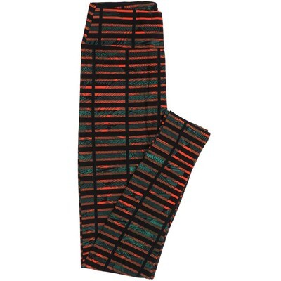 LuLaRoe One Size OS Stripes Blocks Black Red Buttery Soft Womens Leggings fit Adult sizes 2-10  OS-4351-AF