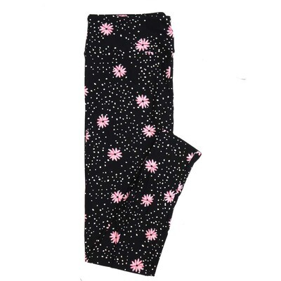 LuLaRoe One Size OS Black White Pink Floral Polka Dot Buttery Soft Womens Leggings fit Adult sizes 2-10  OS-4317-6