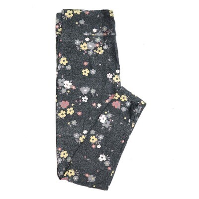 LuLaRoe One Size OS Light Gray Dark Gray Pink Yellow Floral Buttery Soft Womens Leggings fit Adult sizes 2-10  OS-4322-5