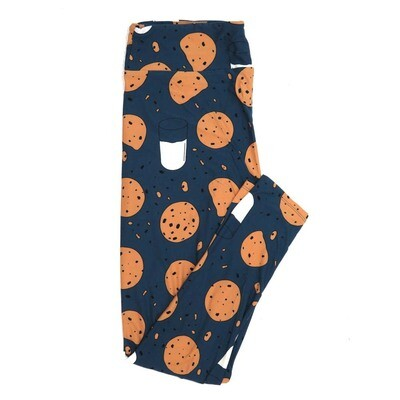 LuLaRoe One Size OS Dark Slate Blue Light Biege Black Chocolate Chip Cookies and Milk Buttery Soft Womens Leggings fit Adult sizes 2-10  OS-4309-7