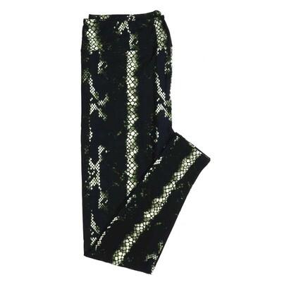 LuLaRoe One Size OS Black Green White Snakeskin Buttery Soft Womens Leggings fit Adult sizes 2-10  OS-4314-12