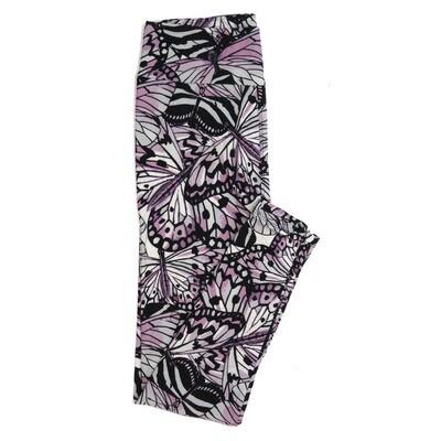 LuLaRoe One Size OS Black Lavendar Gray Butterflies Buttery Soft Womens Leggings fit Adult sizes 2-10  OS-4339-5