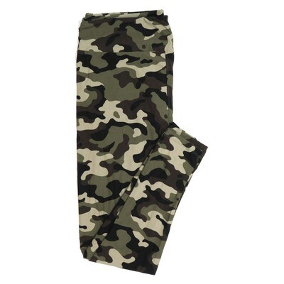 LuLaRoe One Size OS Army Camoflage Brown Green Tan Buttery Soft Womens Leggings fit Adult sizes 2-10  OS-4376-A-25
