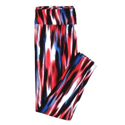 LuLaRoe One Size OS Tye Dye Red White Blue Black Stripe Buttery Soft Womens Leggings fit Adult sizes 2-10  OS-4376-B-25
