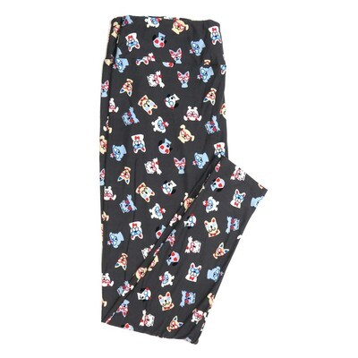 LuLaRoe One Size OS Puppy Dogs Wearing Glasses Hearts Gray Blue Red White Cream Buttery Soft Womens Leggings fit Adult sizes 2-10  OS-4377-D-24