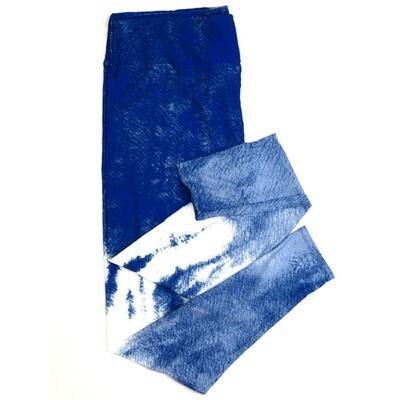 LuLaRoe One Size OS Tye Dye Hombre Blue White Light Blue Buttery Soft Womens Leggings fit Adult sizes 2-10  OS-4378-E-24